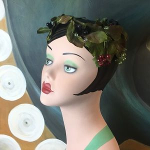 Vintage Leaf & Fruit Headband Fascinator Hat